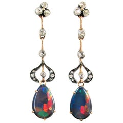 Victorian Black Opal Diamond Gold Ear Pendants