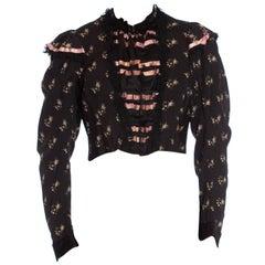 Victorian Black & Purple Wool/Cotton Challis Mourning Rose Printed Blouse
