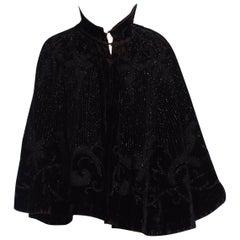 Victorian Black Silk & Cotton Velvet 1890'S Jet Beaded Cape