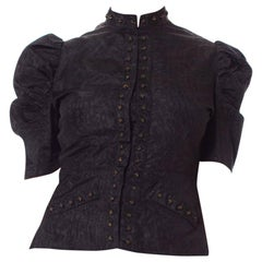 1930S Black Silk Moire Puff Sleeve Top With Studded Deco Buttons