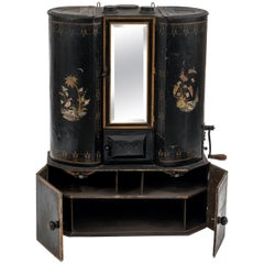 Victorian Black Tole Chuck Wagon Kitchen Cabinet