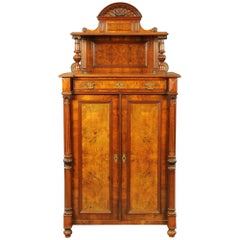 Victorian Black Walnut Tall Cabinet