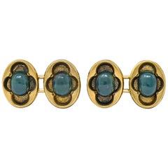 Victorian Bloodstone 14 Karat Gold Clover Men's Cufflinks, circa 1900