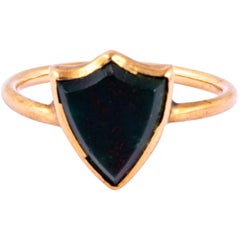 Victorian Bloodstone and 9 Carat Gold Signet Ring