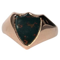 Victorian Bloodstone and 9 Carat Rose Gold Signet Ring