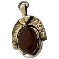 Victorian Bloodstone and Carnelian 10 Carat Gold Spinning Fob
