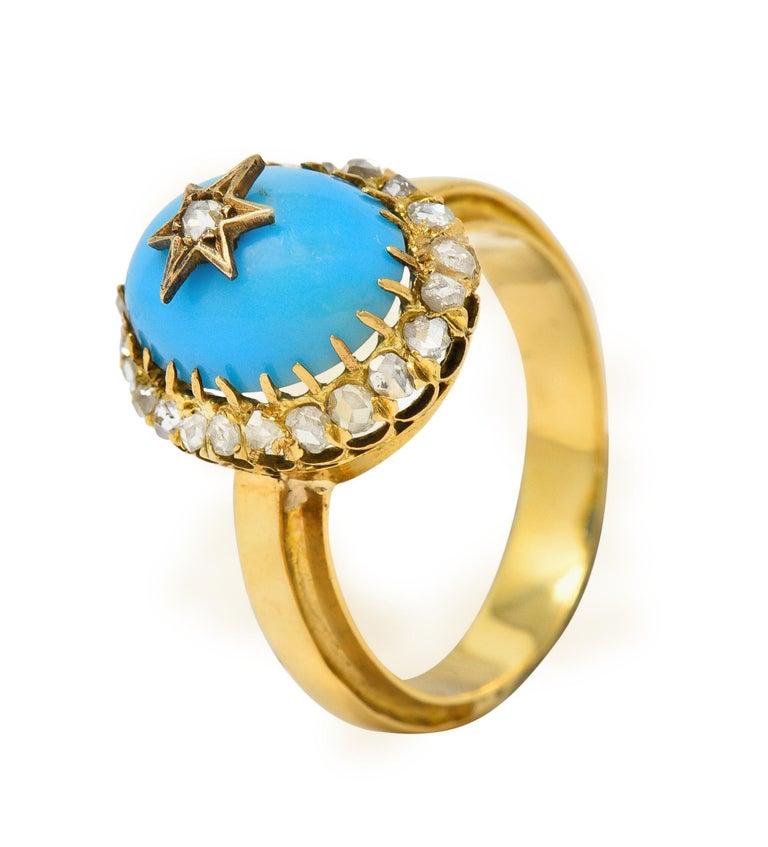 Victorian Blue Agate Rose Cut Diamond 18 Karat Gold Star Cluster Ring For Sale 5