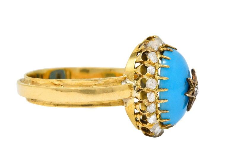Cabochon Victorian Blue Agate Rose Cut Diamond 18 Karat Gold Star Cluster Ring For Sale