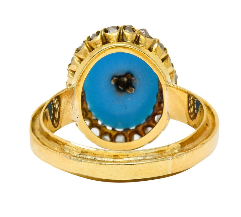 Victorian Blue Agate Rose Cut Diamond 18 Karat Gold Star Cluster Ring In Excellent Condition For Sale In Philadelphia, PA