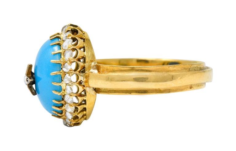 Women's or Men's Victorian Blue Agate Rose Cut Diamond 18 Karat Gold Star Cluster Ring For Sale