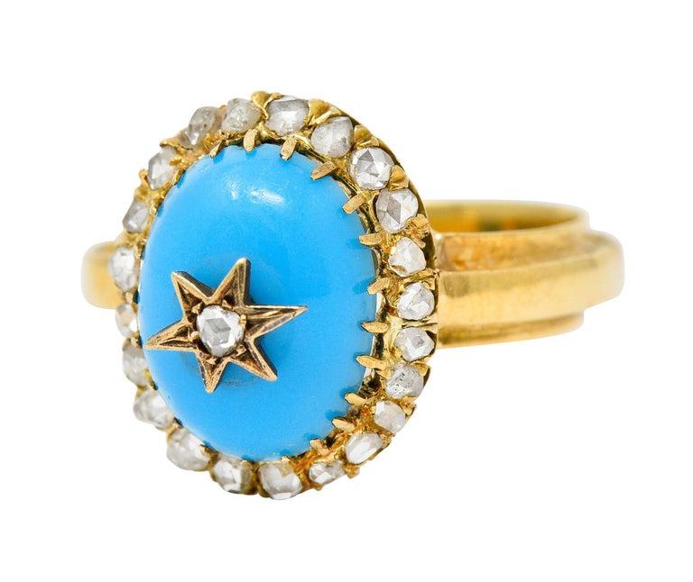 Victorian Blue Agate Rose Cut Diamond 18 Karat Gold Star Cluster Ring For Sale 1