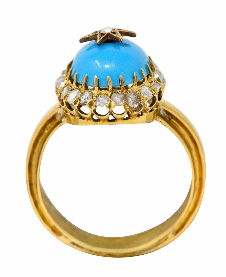 Victorian Blue Agate Rose Cut Diamond 18 Karat Gold Star Cluster Ring For Sale 2