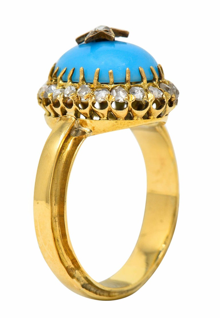 Victorian Blue Agate Rose Cut Diamond 18 Karat Gold Star Cluster Ring For Sale 3