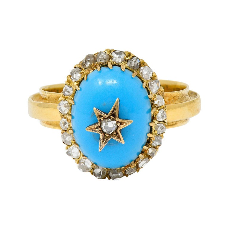Victorian Blue Agate Rose Cut Diamond 18 Karat Gold Star Cluster Ring For Sale