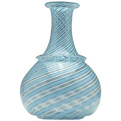 Victorian Blue and White Nailsea Type Trailed Glass Wine Carafe, circa 1845