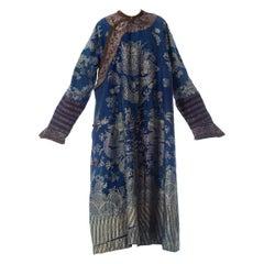 Victorian Blue Chinese Silk Jaquard Dragon Kaftan Ceremonial Robe