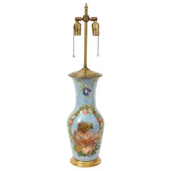 Victorian Blue Decalcomania Vase Mounted as a Lamp