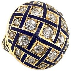 Victorian Blue Enamel 14 Karat Yellow Gold Diamond Cocktail Ring