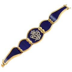 Victorian Blue Enamel 18 Karat Yellow Gold and Diamonds Bracelet