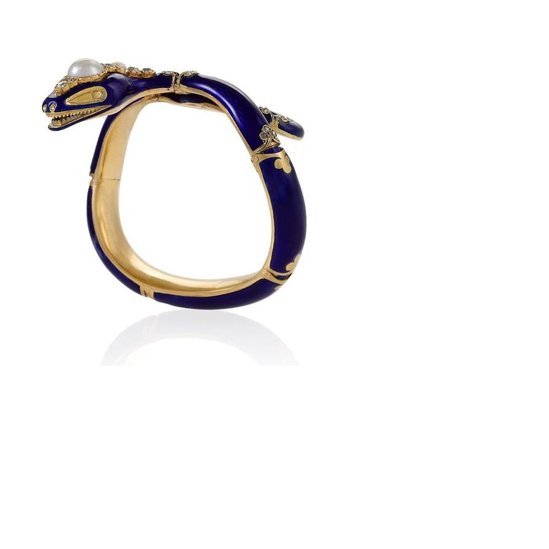 Women's Victorian Blue Enamel, Diamond and Pearl-Accented Snake Bracelet For Sale