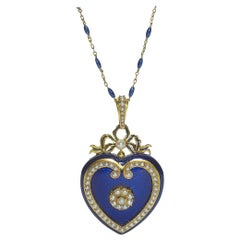 Victorian Blue Enamel, Pearl and Gold Heart Locket, circa 1850
