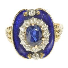 Victorian Blue Enamel Sapphire Diamond Engagement Gold Ring