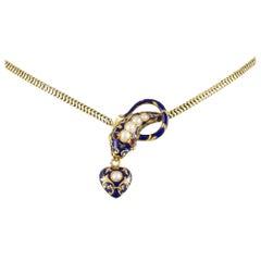 Victorian Blue Enamel Serpent Necklace