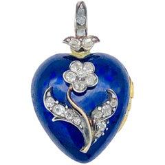 Victorian Blue Heart Diamond Flower Locket Pendant