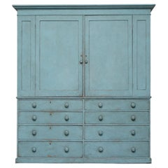 Victorian Blue Painted Pine circa 1860 Housekeepers Cupboard Chest of Drawers
