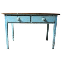 Victorian Blue Painted Pine Side Table, circa 1880