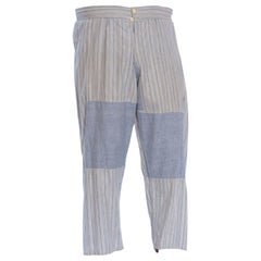 Victorian Blue & White Striped Organic Cotton Men's Patchwork Long Underwear Pa