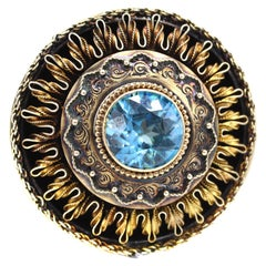 Victorian Blue Zircon Gold Pin Pendant