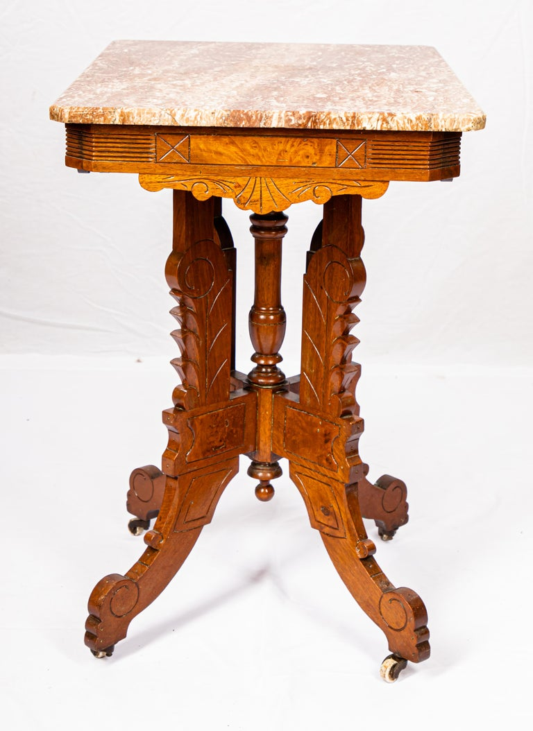 Victorian Blush Marble-Top Parlor Table For Sale 4
