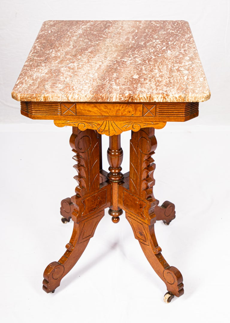 Victorian Blush Marble-Top Parlor Table For Sale 5