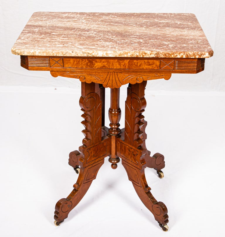 American Victorian Blush Marble-Top Parlor Table For Sale