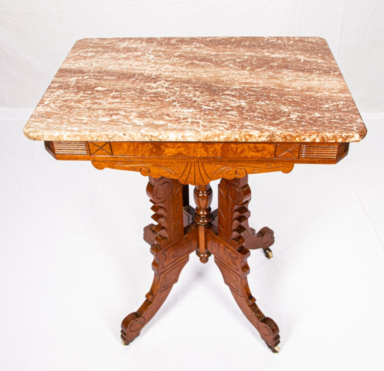 Hand-Crafted Victorian Blush Marble-Top Parlor Table For Sale