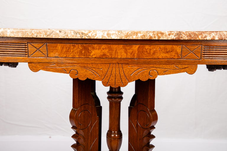 Victorian Blush Marble-Top Parlor Table In Fair Condition For Sale In Cookeville, TN