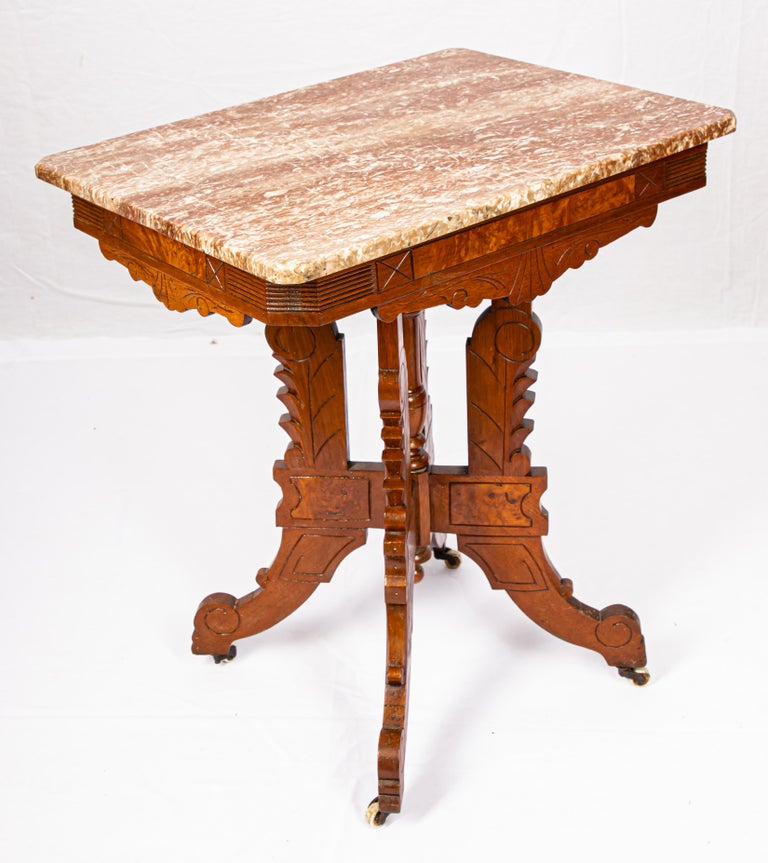 Victorian Blush Marble-Top Parlor Table For Sale 2