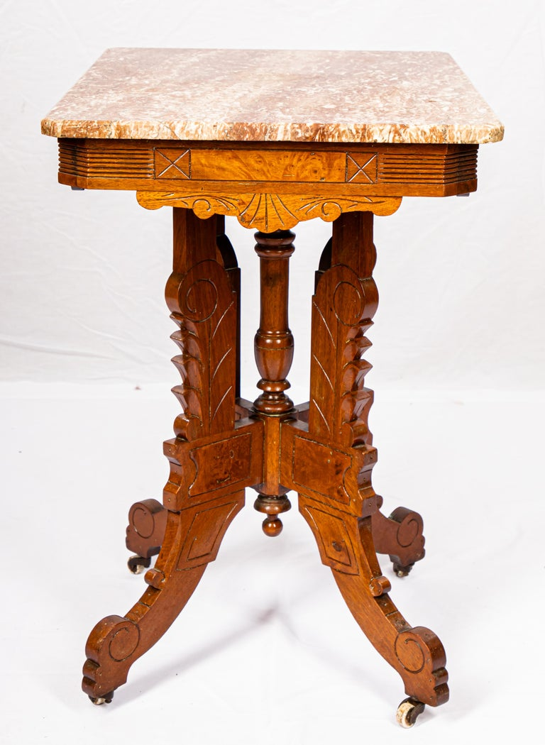 Victorian Blush Marble-Top Parlor Table For Sale 3