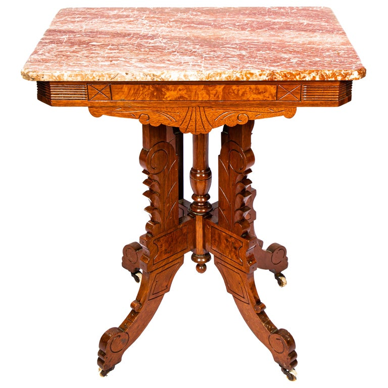 Victorian Blush Marble-Top Parlor Table For Sale