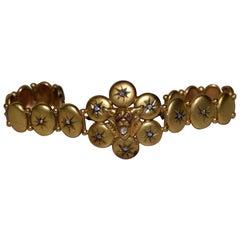 """Victorian """"Bobcat"""" 14-Karat Yellow Gold and Diamonds Bracelet, circa 1900"""