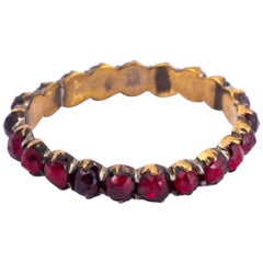 Victorian Bohemian Garnet and Yellow Gold Eternity Band