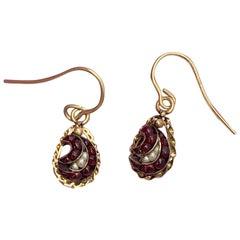 Victorian Bohemian Garnet Pearl Dangle Drop Earrings Gold