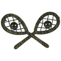 Victorian Bohemian Garnet Tennis Racket Brooch