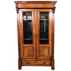 Victorian Bookcase Walnut circa 1880 with 2 Glass Doors