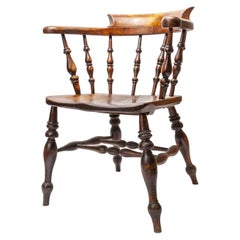 Victorian Bow-Back Elbow Captain's Chair, Late 1800