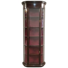 Victorian Bow Fronted Mahogany Shop Display Cabinet
