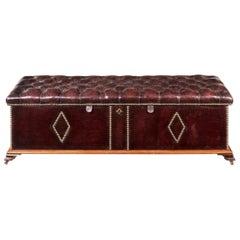 Victorian Box Ottoman with Mahogany Frame, 1870