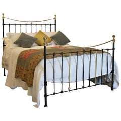 Victorian Brass and Iron Bed in Black, MK159