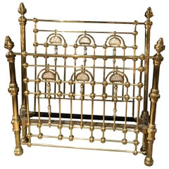 Victorian Brass Bed with Mother of Pearl Inlay, circa 1920